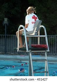 lifeguard keeping watch at pool