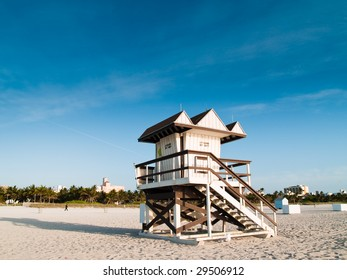 Lifeguard lookout post on a sandy beach on a bright sunny day.