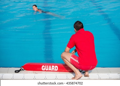 Lifeguard on duty by the pool