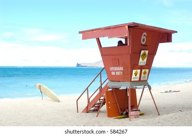 Lifeguard on duty in tower