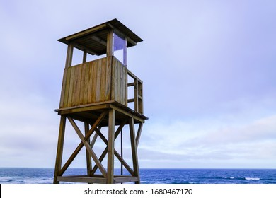 lifeguard outpost tower on sea beach