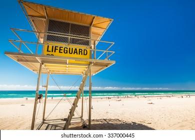 Lifeguard patrol tower on the Gold Coast, Queensland, Australia