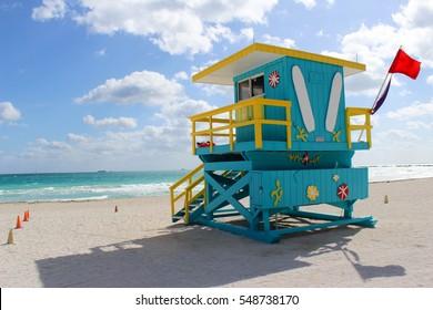 Lifeguard Post on South Beach, Miami
