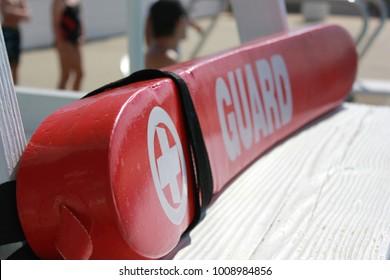 Lifeguard Rescue Tube on Lifeguard Pool Stand