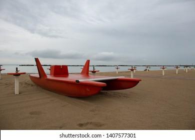 Lifeguard rescue vessel in a beach in the Riviera Romagnola area: italian bay watch