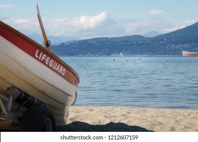 A lifeguard rowboat on Locarno Beach, Vancouver.