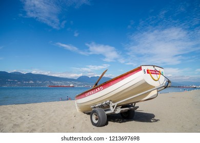 A lifeguard rowboat on Locarno Beach, Vancouver