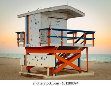 Lifeguard shack at South Beach in Miami Florida