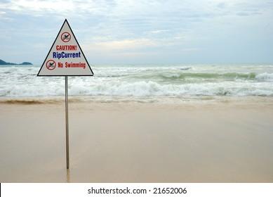 Lifeguard sign saying no swimming