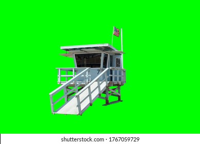Lifeguard Stand on Beach with American Flag Isolated on Green Background for Keying
