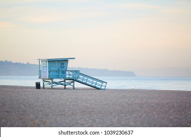 Lifeguard stand on the beach in california
