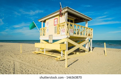 Lifeguard station along beautiful Crandon Park Beach located in Key Biscayne in Miami.