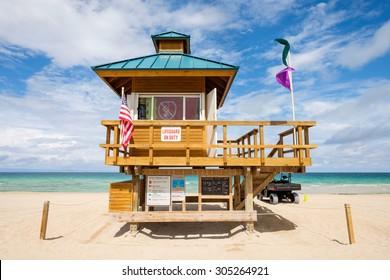Lifeguard station along beautiful Sunny Isles Beach in North Miami.