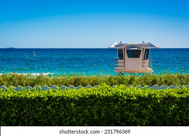 Lifeguard station and the Atlantic Ocean in Palm Beach, Florida.
