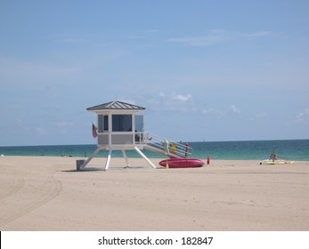 Lifeguard station on the beach in Fort Lauderdale, Florida.