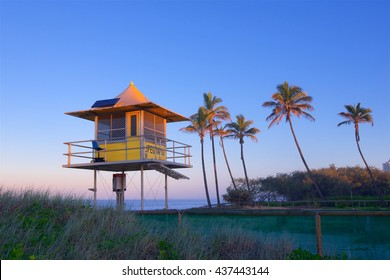 Lifeguard station at sunset on Australia's Gold Coast, in Queensland