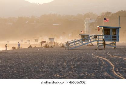 Lifeguard stations at famous Santa-Monica beach, Los-Angeles, California