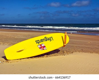 Lifeguard surfboard, Bournemouth, Dorset, June 2017; editorial use only