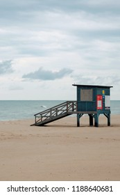 Lifeguard tower at the beach. Beautiful view of the beach after heavy rain. Baltic sea, Wladyslawowo, Poland