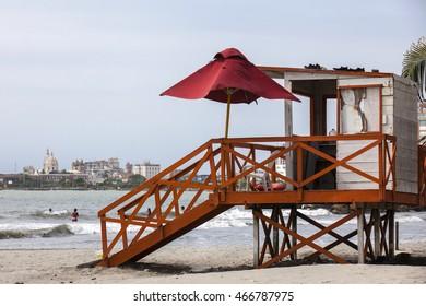 Lifeguard tower at the beach in Cartagena de Indias