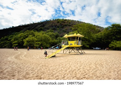 Lifeguard tower at Big Beach (Makena) Maui, Hawaii.