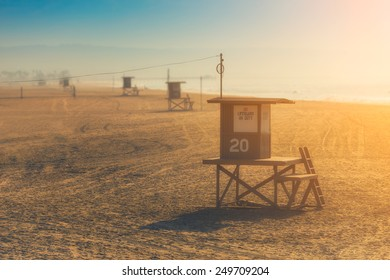 Lifeguard tower during a sunny bright day, vibrant colors