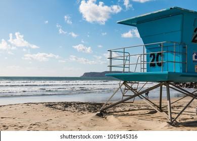 A lifeguard tower facing west on Coronado Beach in San Diego, California.