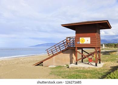 Lifeguard tower at Latchi beach, Paphos area, Cyprus