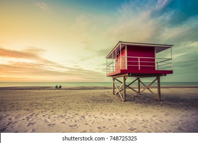 Lifeguard Tower low angle shoot at sunset, Michigan, United States