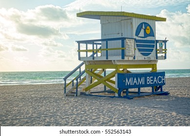Lifeguard Tower Miami Beach Florida Clouds Atlantic Ocean Relaxing Vacation Concept