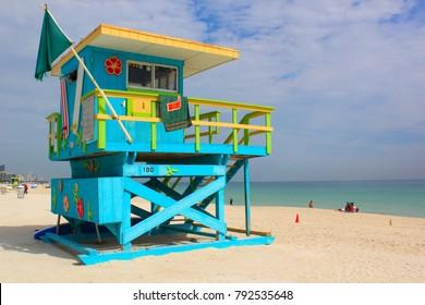 Lifeguard tower in Miami Beach, Florida, USA