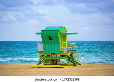 Lifeguard tower in Miami Beach. Ocean location concept