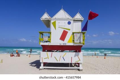 Lifeguard Tower at M;iami Beach - Rescue house - MIAMI. FLORIDA - APRIL 10, 2016