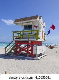 Lifeguard Tower at M;iami Beach - Rescue tower - MIAMI. FLORIDA - APRIL 10, 2016