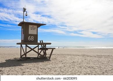 Lifeguard tower at Newport Beach, California
