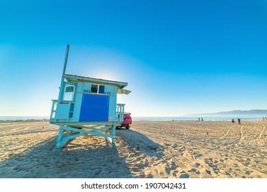 Lifeguard tower in Newport Beach, Orange County. California, USA