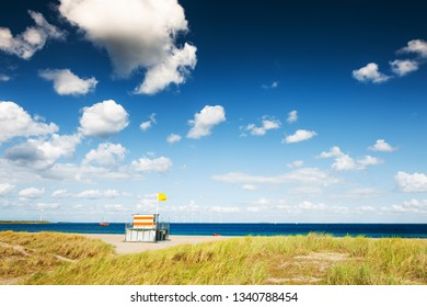 Lifeguard tower on the beach in Noordwijk, Netherlands. Travel and vacation