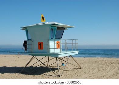 Lifeguard tower on beach; Santa Cruz, California