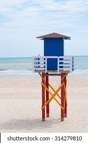 Lifeguard tower on the beach, Matalascañas, Spain