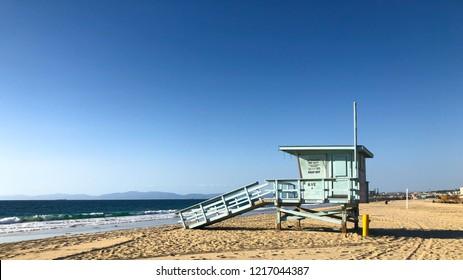 Lifeguard tower on the coast of Southern California -- Redondo Beach/Los Angeles