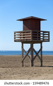 Lifeguard tower on a Mediterranean beach in southern France