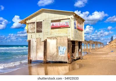 Lifeguard tower on the sunny beach  - Netanya, Israel