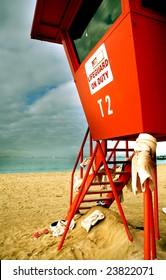 Lifeguard tower on Waikiki Beach  in Hawaii