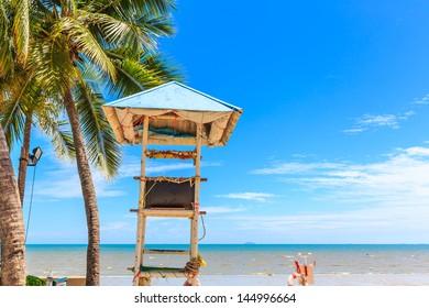 lifeguard tower at pattaya beach, thailand