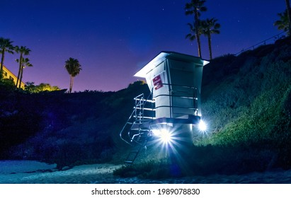 Lifeguard tower rocketship in the night