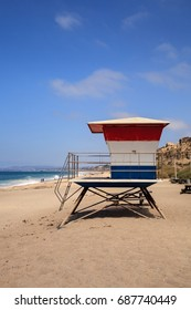 Lifeguard tower at the San Clemente State Beach in Southern California in summer