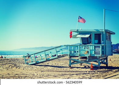 Lifeguard tower in Santa Monica, California