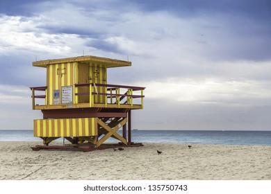 Lifeguard tower in South Beach, Miami, Florida