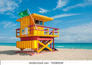 Lifeguard Tower in South Beach, Miami Beach, Florida, USA