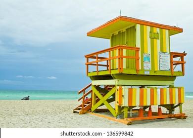 Lifeguard Tower South Beach Lifeguard tower on a cloudy morning at South Beach, Miami Florida